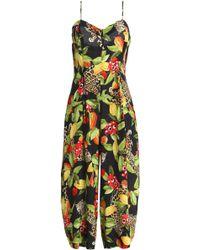 Isolda - Madeleine Cropped Printed Silk Jumpsuit - Lyst
