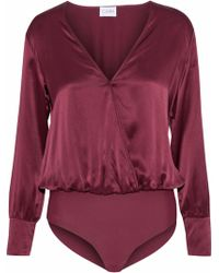 Cami NYC - Allison Wrap-effect Silk-charmeuse Bodysuit - Lyst