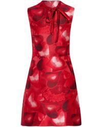 Valentino - Pussy-bow Jacquard Mini Dress - Lyst
