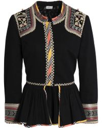 Talitha - Woman Embroidered Cotton-twill Peplum Jacket Black - Lyst