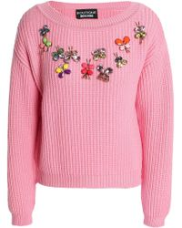 Boutique Moschino - Appliquéd Ribbed-knit Wool Sweater - Lyst