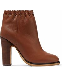 See By Chloé - Jane Textured-leather Ankle Boots - Lyst