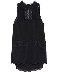 Jonathan Simkhai - Woman Lace-trimmed Tulle Top Black - Lyst