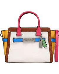COACH - Color-block Smooth And Textured-leather Shoulder Bag - Lyst