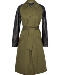 VEDA - Leather-paneled Cotton-twill Trench Coat - Lyst