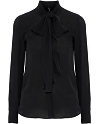 Valentino - Ruffle-trimmed Silk-crepe Blouse - Lyst