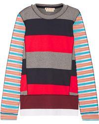 Marni - Mesh-paneled Striped Cotton-blend Sweater - Lyst