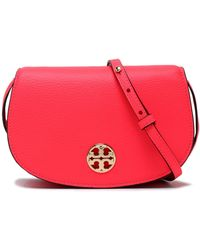 Tory Burch - Embellished Leather Shoulder Bag Bright Pink - Lyst