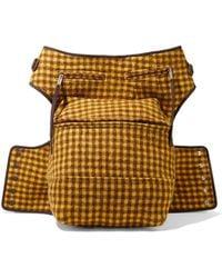 Rick Owens Cargo Chap Checked Brushed-felt Belt Bag Saffron - Multicolor