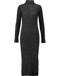 Ganni | Ribbed-knit Turtleneck Midi Dress | Lyst