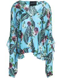 Nicholas - Ruffled Floral-print Silk-georgette Top Turquoise - Lyst