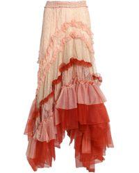 Chloé - Asymmetric Ruffled Tulle And Lace Maxi Skirt - Lyst