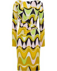 Emilio Pucci - Woman Draped Printed Stretch-jersey Dress Yellow - Lyst