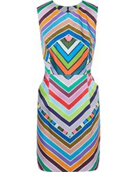 96fd325db7 MILLY - Woman Coco Printed Faille Mini Dress Multicolor - Lyst