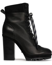 Schutz - Lace-up Suede-trimmed Leather Ankle Boots - Lyst