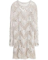 Chloé - Cotton And Silk-blend Crocheted Mini Dress - Lyst