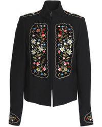 Vilshenko - Embellished Velvet-appliquéd Gabardine Jacket - Lyst