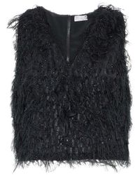 Brunello Cucinelli - Cropped Feather-embellished Metallic Organza Top - Lyst