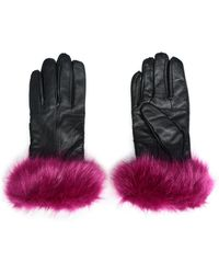 Surell - Woman Faux Fur-trimmed Leather Gloves Magenta - Lyst