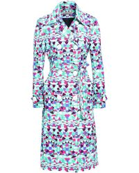 Emilio Pucci - Woman Double-breasted Printed Cotton-blend Trench Coat Multicolour - Lyst