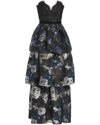 Marchesa notte - Tiered Metallic Jacquard And Corded Lace Gown - Lyst