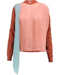 Vionnet - Plissé-paneled Silk And Wool-blend Top - Lyst