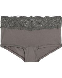 Cosabella - Mid-rise Lace-trimmed Cotton-blend Stretch-jersey Briefs Grey Green - Lyst