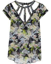 Marissa Webb - Lori Cutout Floral-print Silk-chiffon Blouse - Lyst