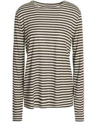 Vince - Striped Silk-blend Jersey Top - Lyst