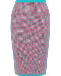 Diane von Furstenberg - Woman Jacquard-knit Pencil Skirt Tomato Red - Lyst