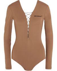 Off-White c/o Virgil Abloh - Woman Lace-up Appliquéd Stretch-jersey Bodysuit Camel - Lyst