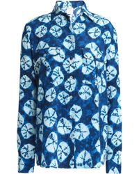 Stella Jean - Tie-dyed Silk Crepe De Chine Shirt Bright Blue - Lyst