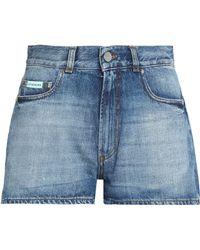 ALEXACHUNG - Faded Denim Shorts Mid Denim - Lyst