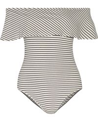 Kain - Alessandra Off-the-shoulder Striped Ribbed Jersey Bodysuit - Lyst