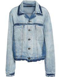 DKNY Frayed Faded Denim Jacket Light Denim