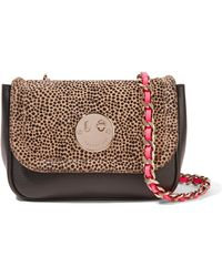 Hill & Friends - Neon Leather-trimmed Printed Calf Hair And Leather Shoulder Bag - Lyst