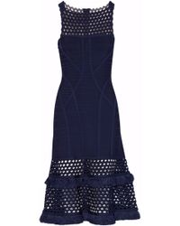Hervé Léger - Laser Cut-paneled Fringed Bandage Dress - Lyst