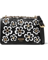 Moschino - Floral-appliquéd Leather Shoulder Bag - Lyst