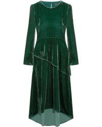 Maje - Woman Remanio Layered Velvet Midi Dress Forest Green - Lyst