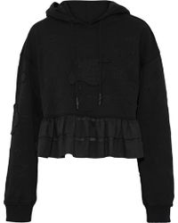 Opening Ceremony - Embroidered French Cotton-terry Peplum Hoodie - Lyst