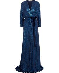 Jenny Packham - Velvet-trimmed Sequined Silk Wrap Gown - Lyst