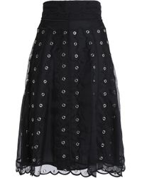 RED Valentino - Woman Eyelet-embellished Silk-organza Skirt Black - Lyst