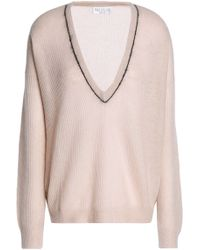 cdd2041372 Brunello Cucinelli - Bead-embellished Ribbed- Knit Sweater Pastel Pink -  Lyst