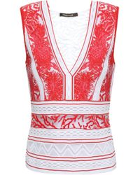 Roberto Cavalli - Woman Paneled Jacquard-knit And Embroidered Tulle Top Red - Lyst