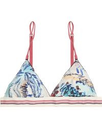 Love Stories - Printed Stretch-jersey Soft-cup Triangle Bra - Lyst
