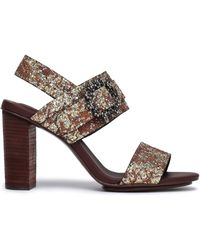 See By Chloé See By Chloé Rosie Crystal-embellished Glittered Leather Sandals Bronze - Multicolour