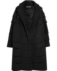 Tom Ford - Woman Distressed Bouclé Coat Black Size 36 - Lyst