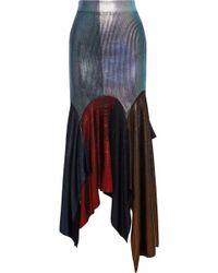 Christopher Kane - Asymmetric Metallic Coated Ribbed-knit Midi Skirt - Lyst