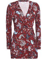 Diane von Furstenberg - Wrap-effect Printed Silk-jersey Playsuit - Lyst