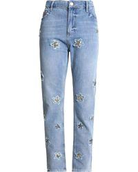 061017207ad7 Zoe Karssen - Woman Appliquéd Distressed High-rise Staight-leg Jeans Light  Denim -
